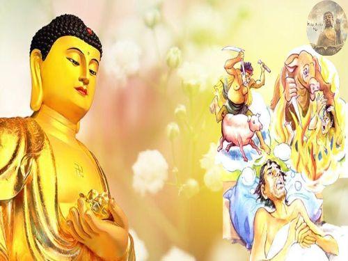 Hình minh họa: Đức Phật khuyên răng Phật tử của người không làm nghề mua bán thịt
